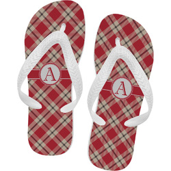 Red & Tan Plaid Flip Flops - Large (Personalized)