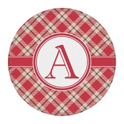 Red & Tan Plaid Round Desk Weight - Genuine Leather  (Personalized)