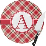 Red & Tan Plaid Round Glass Cutting Board (Personalized)