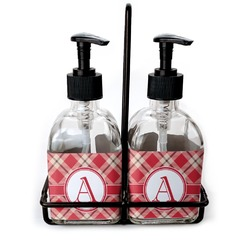 Red & Tan Plaid Soap & Lotion Dispenser Set (Glass) (Personalized)