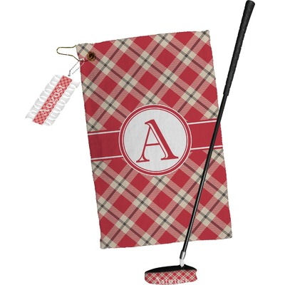 Red & Tan Plaid Golf Towel Gift Set (Personalized)