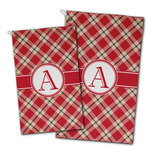 Red & Tan Plaid Golf Towel - Full Print w/ Initial