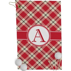 Red & Tan Plaid Golf Towel - Full Print (Personalized)
