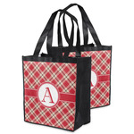 Red & Tan Plaid Grocery Bag (Personalized)