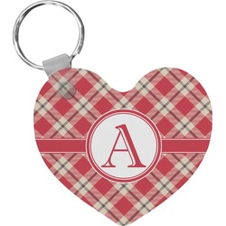 Red & Tan Plaid Heart Keychain (Personalized)