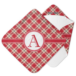 Red & Tan Plaid Hooded Baby Towel (Personalized)