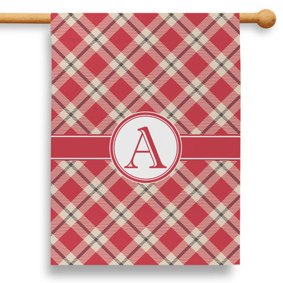 """Red & Tan Plaid 28"""" House Flag (Personalized)"""