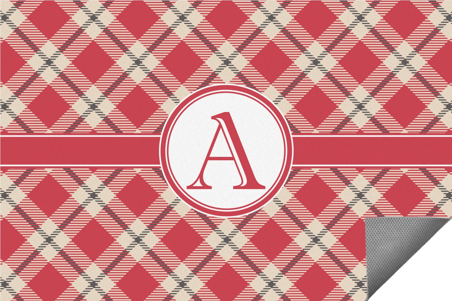 Red U0026 Tan Plaid Indoor / Outdoor Rug (Personalized)