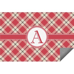 Red & Tan Plaid Indoor / Outdoor Rug (Personalized)