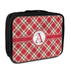 Red & Tan Plaid Insulated Lunch Bag (Personalized)
