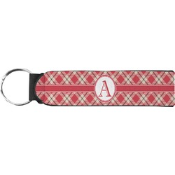 Red & Tan Plaid Keychain Fob (Personalized)