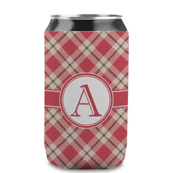 Red & Tan Plaid Can Sleeve (12 oz) (Personalized)
