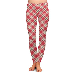 Red & Tan Plaid Ladies Leggings - Large (Personalized)