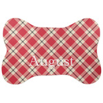 Red & Tan Plaid Bone Shaped Dog Food Mat (Personalized)