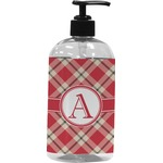 Red & Tan Plaid Plastic Soap / Lotion Dispenser (Personalized)