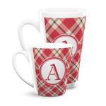 Red & Tan Plaid Latte Mug (Personalized)