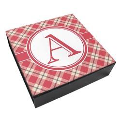 Red & Tan Plaid Leatherette Keepsake Box - 8x8 (Personalized)