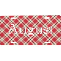 Red & Tan Plaid Front License Plate (Personalized)