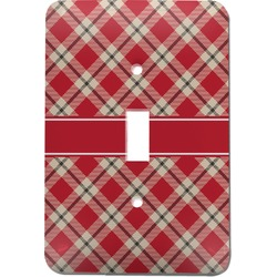 Red & Tan Plaid Light Switch Cover (Single Toggle) (Personalized)