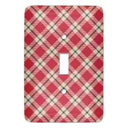 Red & Tan Plaid Light Switch Covers - Multiple Toggle Options Available (Personalized)