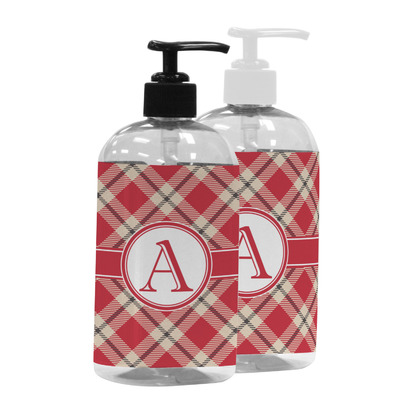 Red & Tan Plaid Plastic Soap / Lotion Dispenser (Personalized)