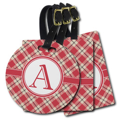 Red & Tan Plaid Plastic Luggage Tags (Personalized)