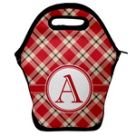 Red & Tan Plaid Lunch Bag w/ Initial