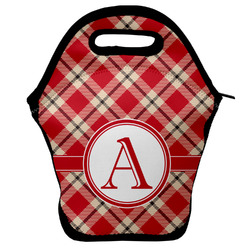 Red & Tan Plaid Lunch Bag (Personalized)