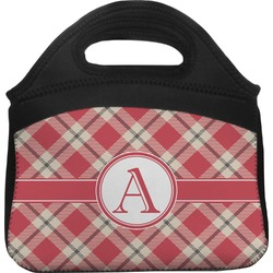 Red & Tan Plaid Lunch Tote (Personalized)