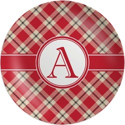 Red & Tan Plaid Melamine Plate (Personalized)