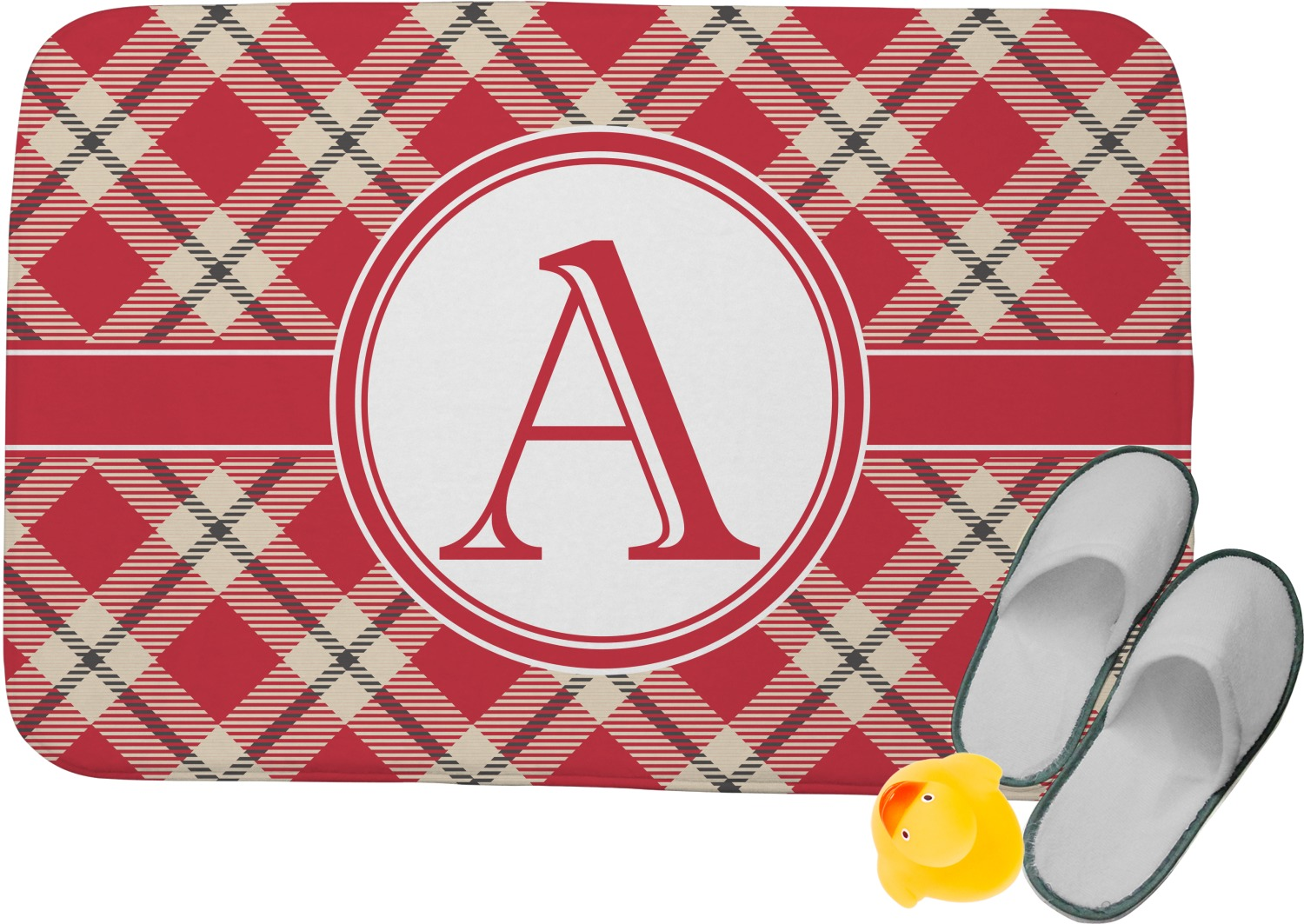Red Amp Tan Plaid Memory Foam Bath Mat Personalized