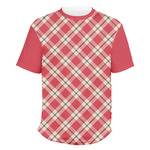 Red & Tan Plaid Men's Crew T-Shirt (Personalized)