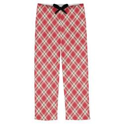 Red & Tan Plaid Mens Pajama Pants (Personalized)