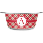 Red & Tan Plaid Stainless Steel Dog Bowl (Personalized)