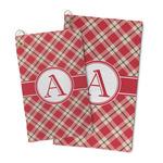 Red & Tan Plaid Microfiber Golf Towel (Personalized)