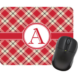 Red & Tan Plaid Mouse Pad (Personalized)
