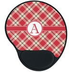 Red & Tan Plaid Mouse Pad with Wrist Support