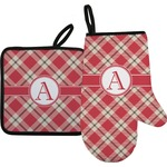 Red & Tan Plaid Oven Mitt & Pot Holder (Personalized)