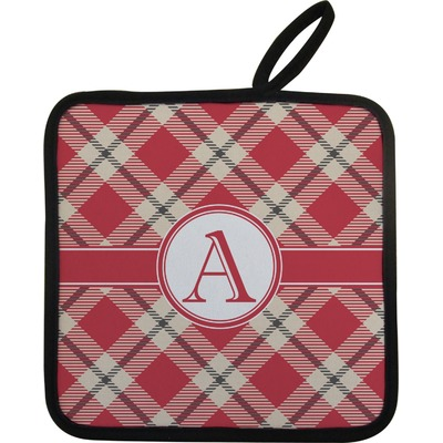Red & Tan Plaid Pot Holder (Personalized)
