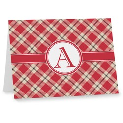 Red & Tan Plaid Note cards (Personalized)