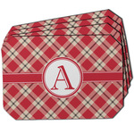 Red & Tan Plaid Dining Table Mat - Octagon w/ Initial