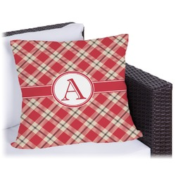 Red & Tan Plaid Outdoor Pillow (Personalized)