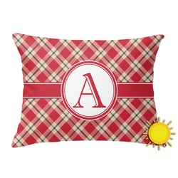 Red & Tan Plaid Outdoor Throw Pillow (Rectangular) (Personalized)