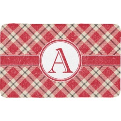 Red & Tan Plaid Bath Mat (Personalized)