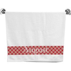 Red & Tan Plaid Bath Towel (Personalized)