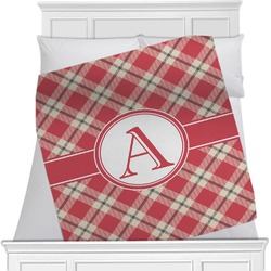 "Red & Tan Plaid Fleece Blanket - Twin / Full - 80""x60"" - Single Sided (Personalized)"