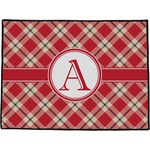Red & Tan Plaid Door Mat (Personalized)