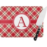 Red & Tan Plaid Rectangular Glass Cutting Board (Personalized)