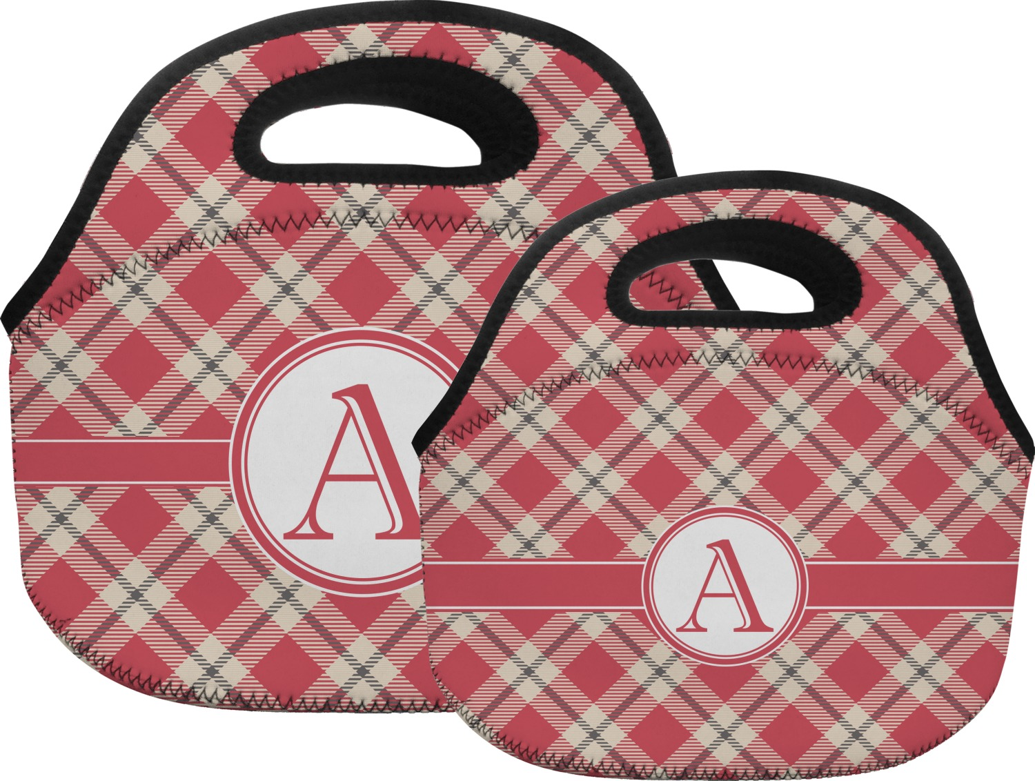 Red tan plaid lunch bag large personalized