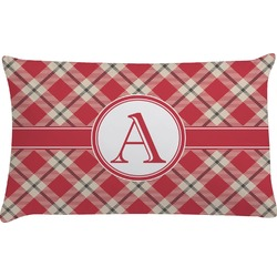 Red & Tan Plaid Pillow Case (Personalized)